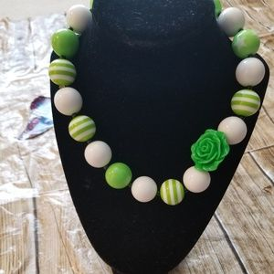 New Bubble Gum Bead Necklace green white
